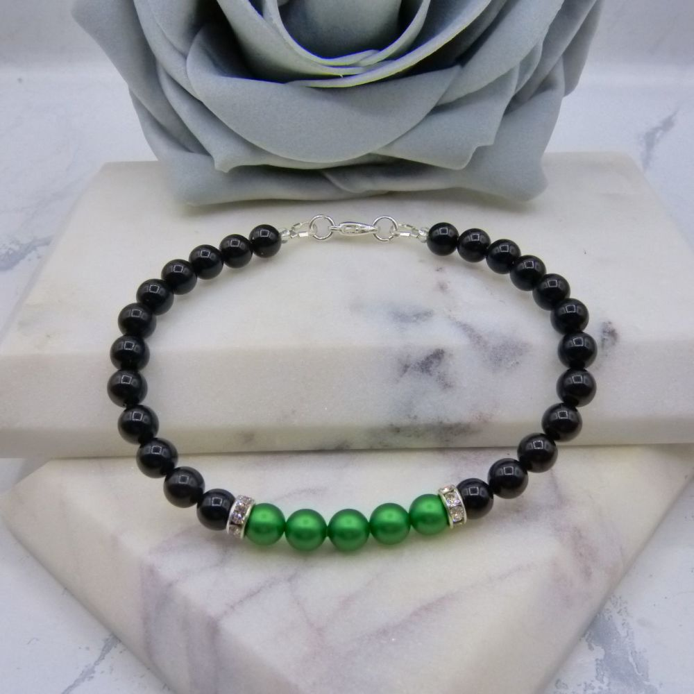 Black Pearl Colour Block Bracelet - Eden Green
