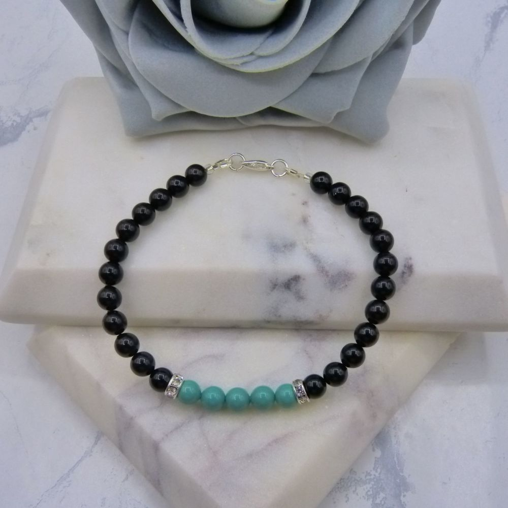 6mm Black Pearl Colour Block Bracelet - Jade