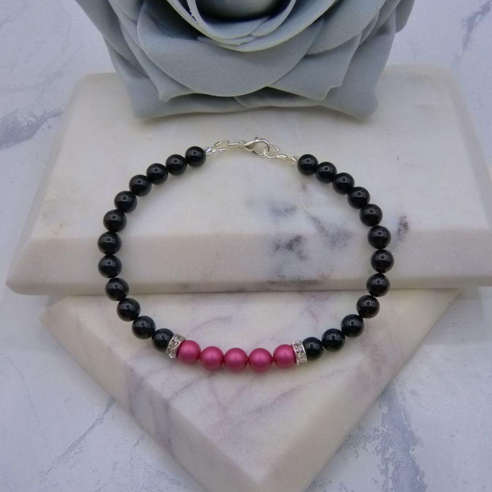 6mm Black Pearl Colour Block Bracelet - Mulberry