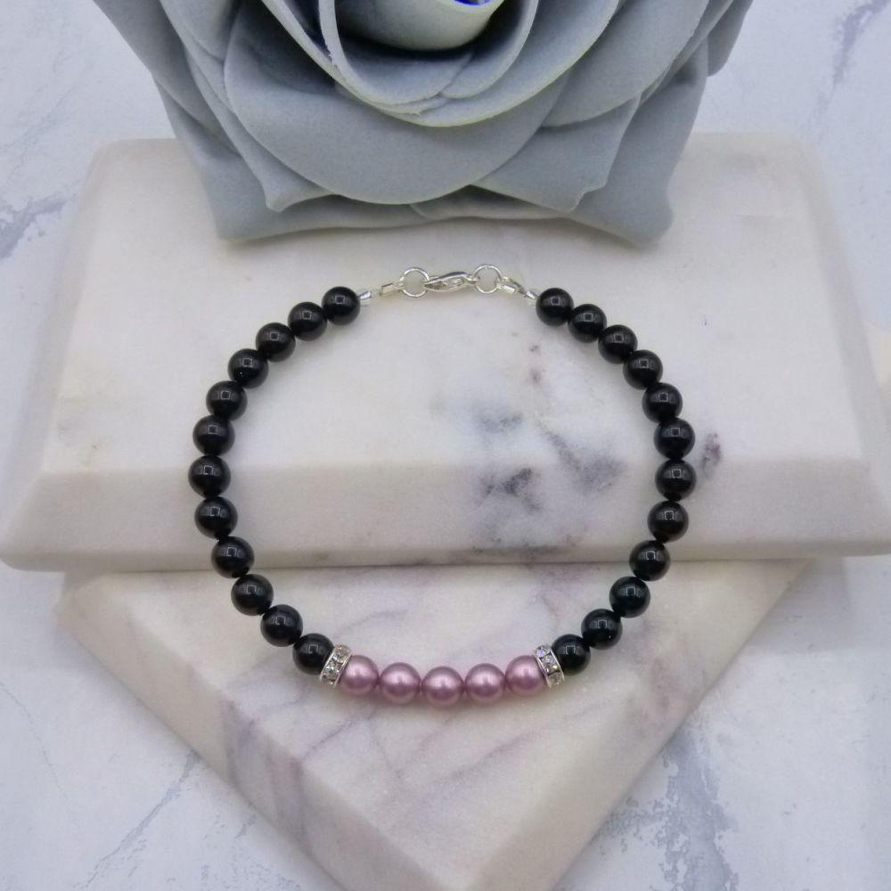 6mm Black Pearl Colour Block Bracelet - Powder Rose