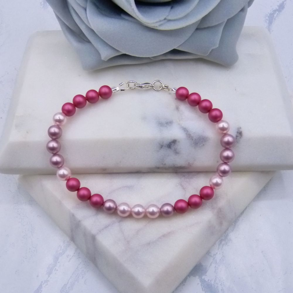 Triple Pink Pearl Bracelet