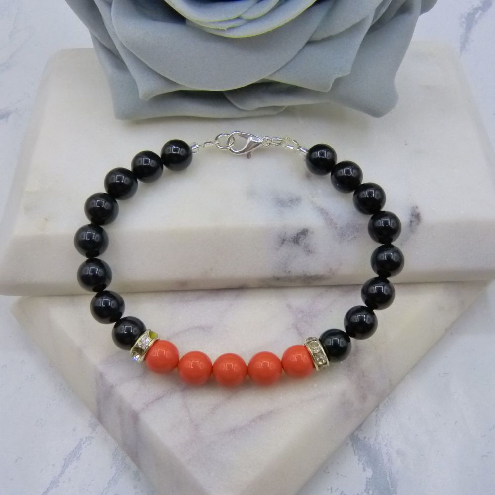 8mm Black Pearl Colour Block Bracelet - Coral