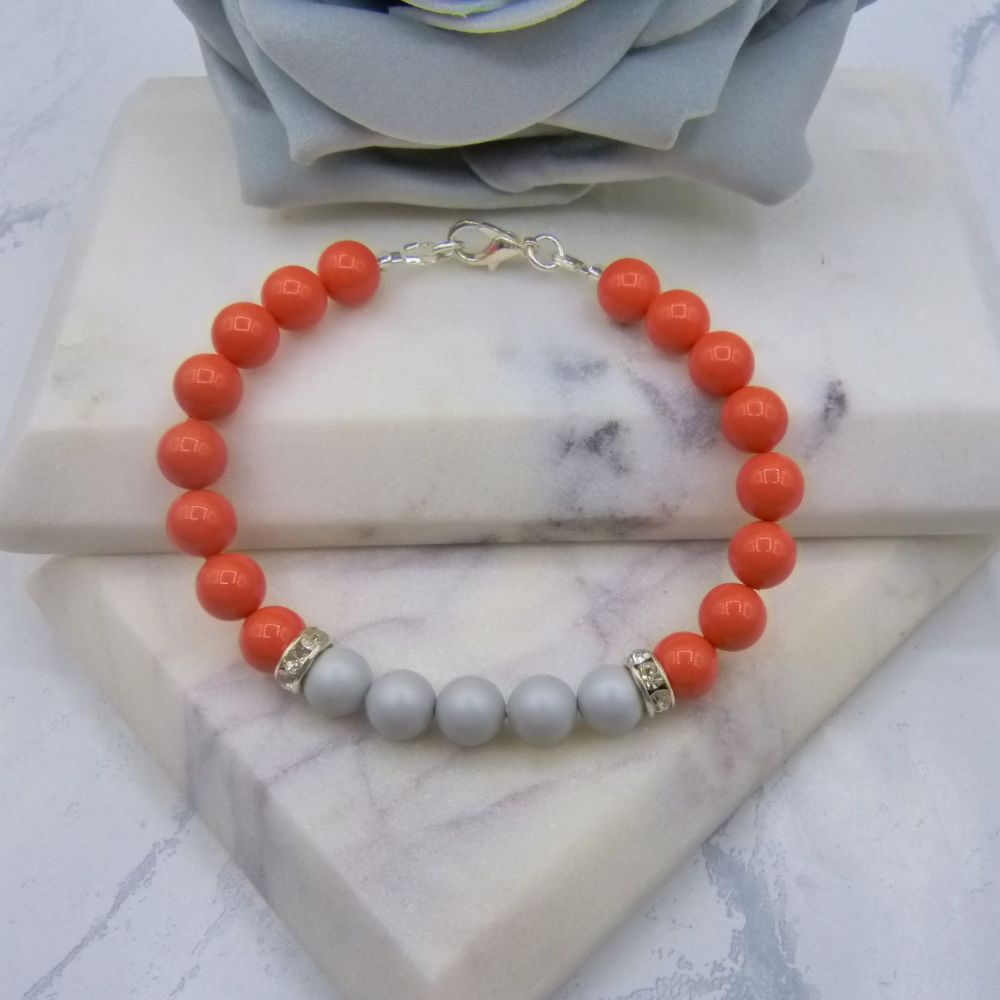 8mm Coral Pearl Colour Block Bracelet - Pastel Grey