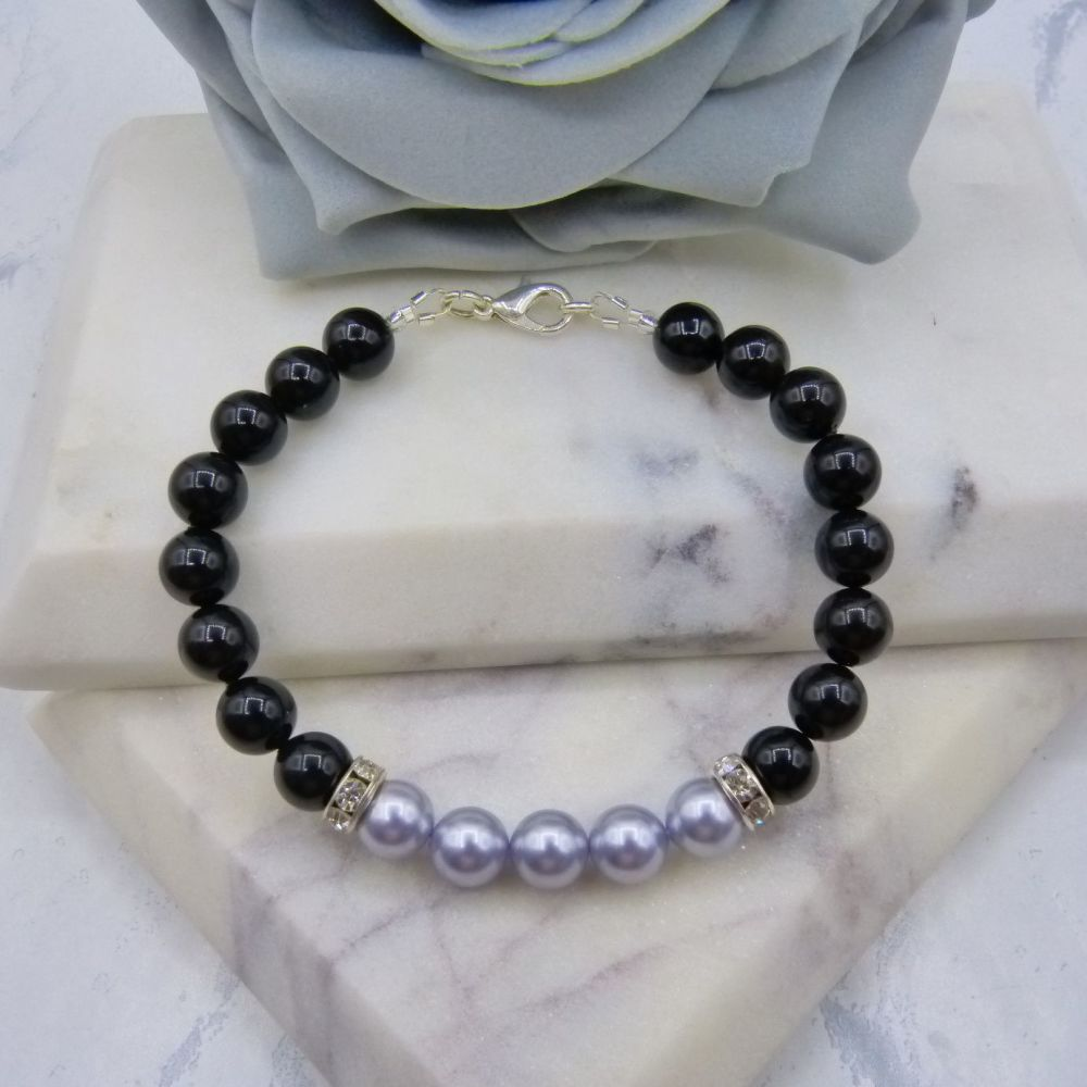 8mm Black Pearl Colour Block Bracelet - Lavender