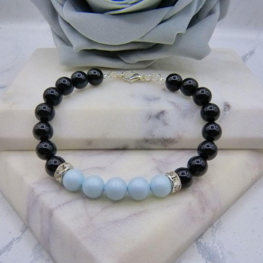 8mm Black Pearl Colour Block Bracelet - Pastel Blue