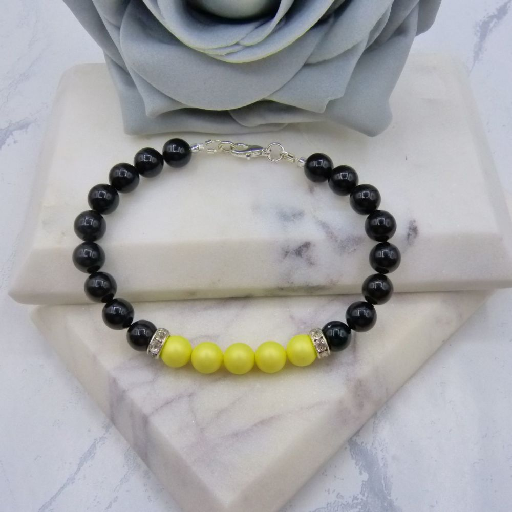 8mm Black Pearl Colour Block Bracelet - Pastel Yellow