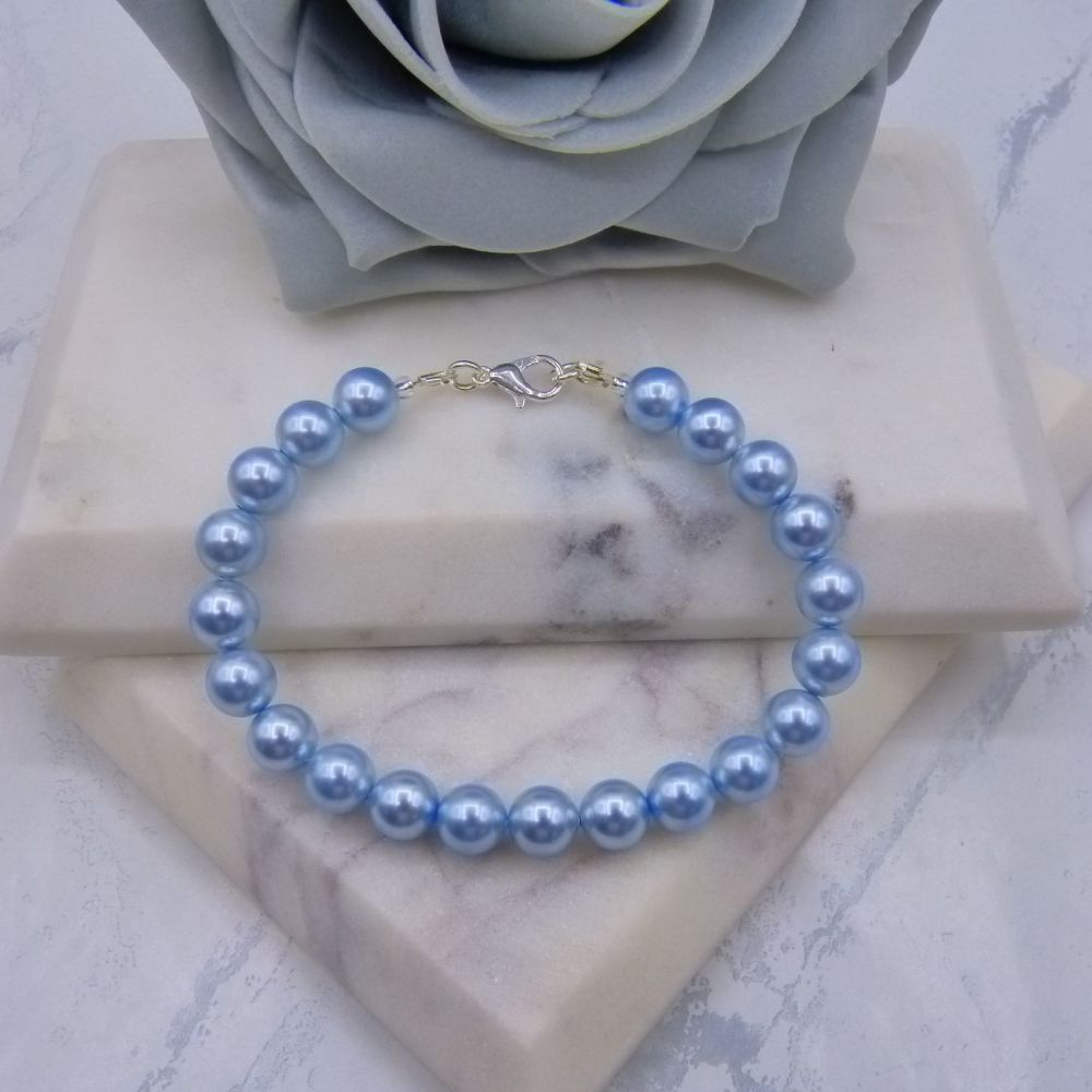 Light Blue Large Pearl Bracelet