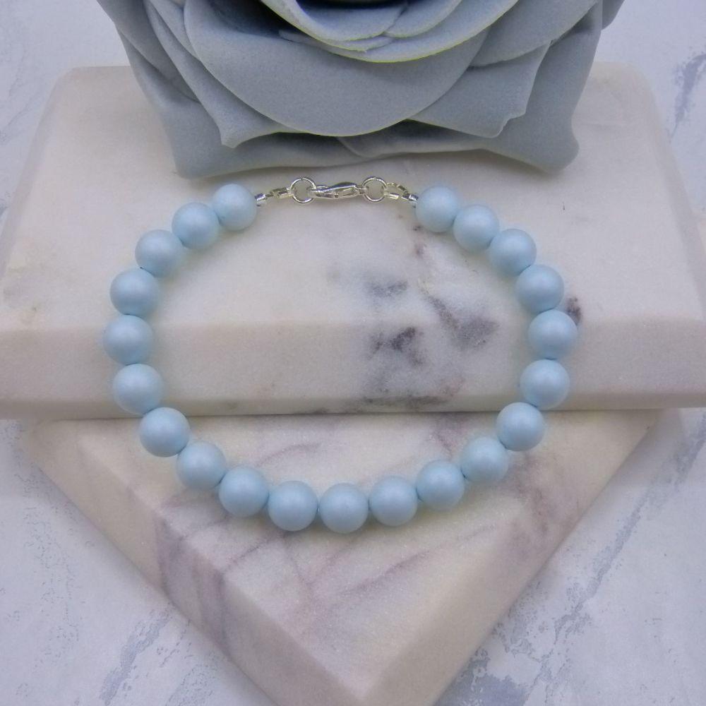 Pastel Blue Large Pearl Bracelet