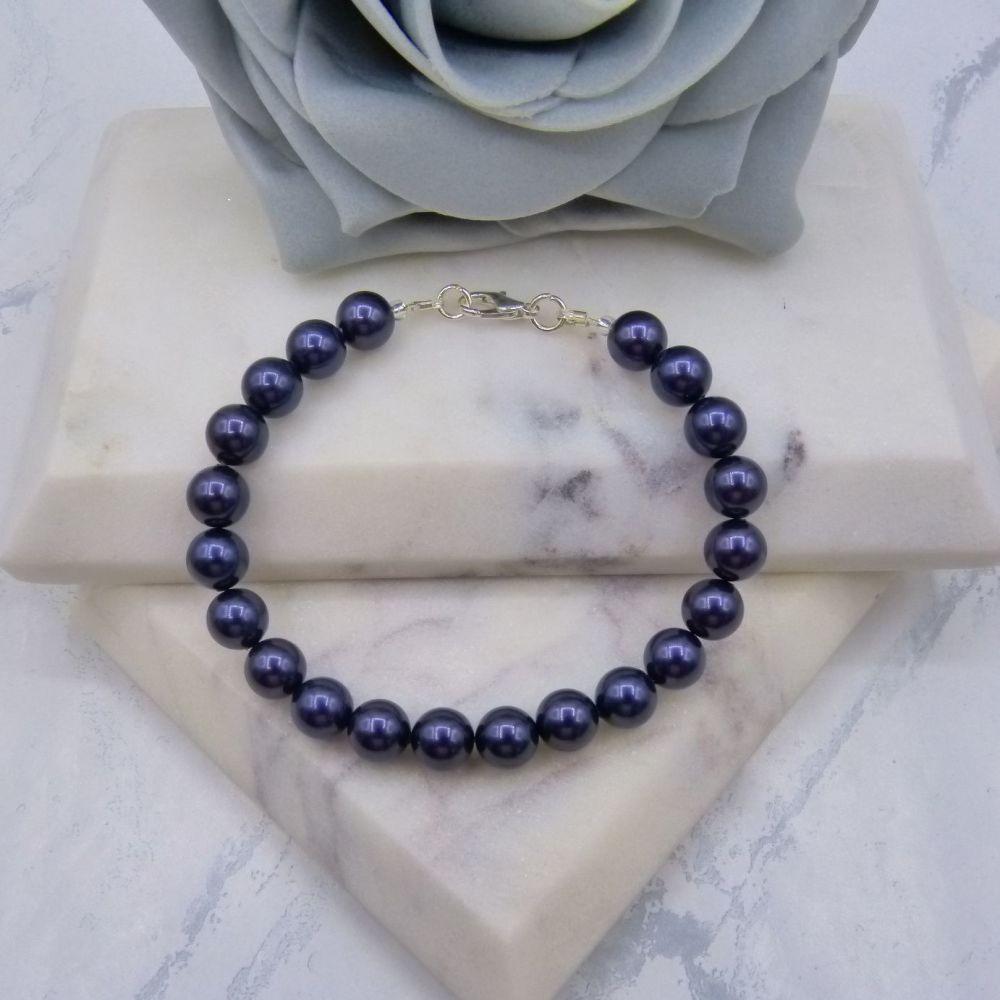 Dark Purple Large Pearl Bracelet