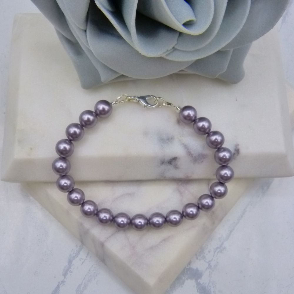 Mauve Large Pearl Bracelet