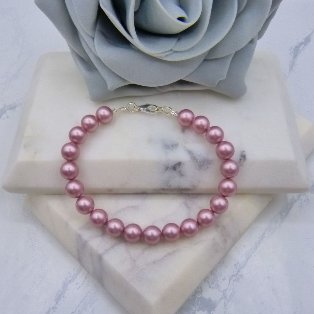 Powder Rose Pink Large Pearl Bracelet