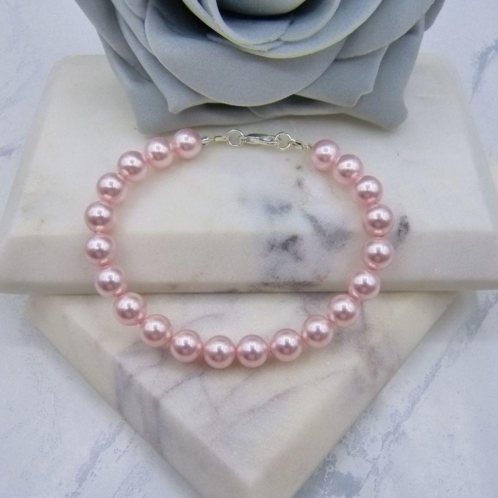 Rosaline Light Pink Large Pearl Bracelet