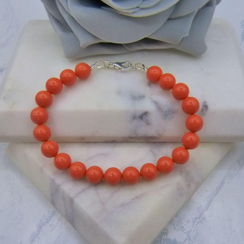 Coral Large Pearl Bracelet