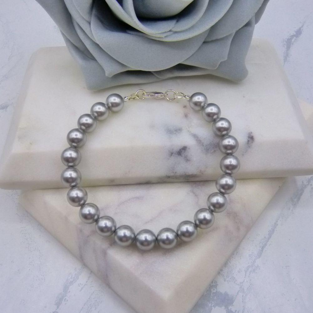 Light Grey Large Pearl Bracelet