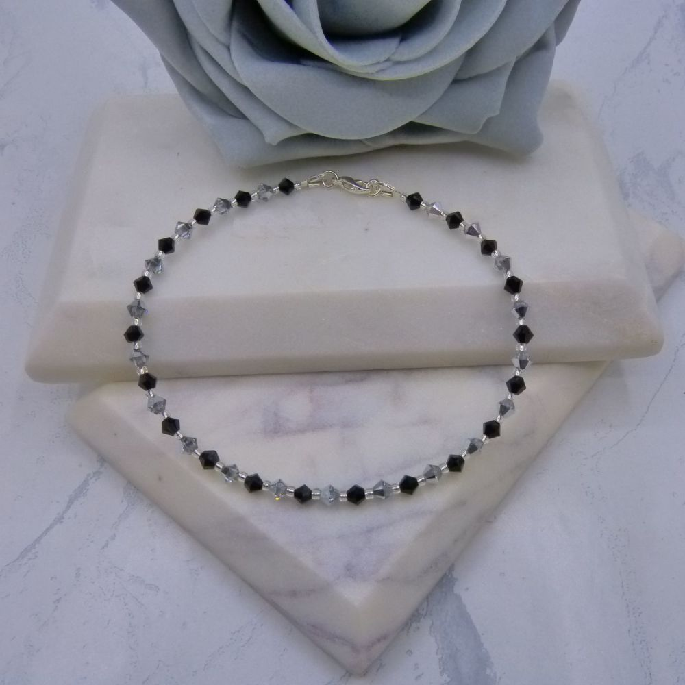 Jet Black & Silver 4mm Crystal Anklet