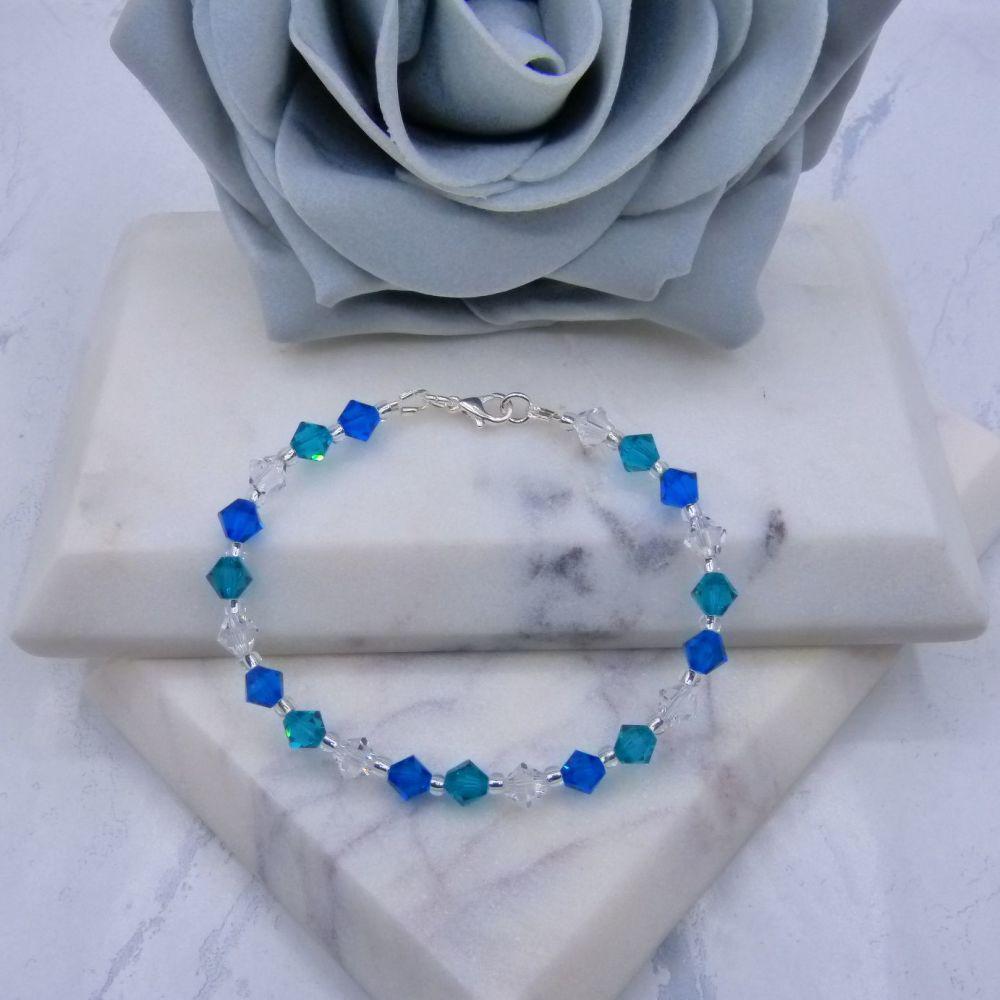 Capri Blue/Blue Zircon & Clear Crystal Bracelet