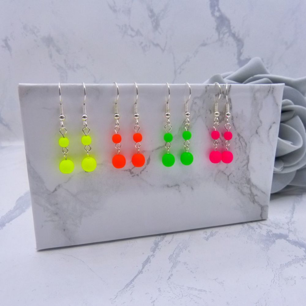 Double Bead Neon Drop Earrings
