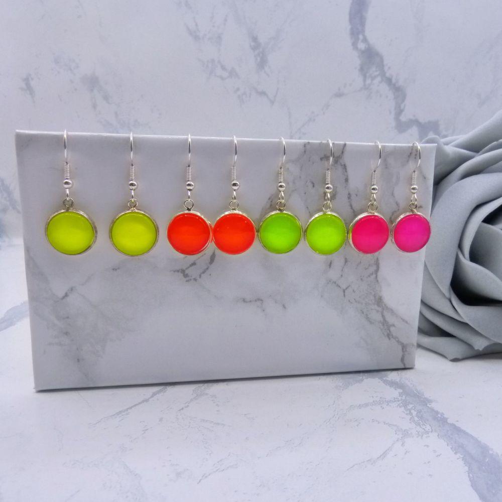 12mm Neon Drop Earrings