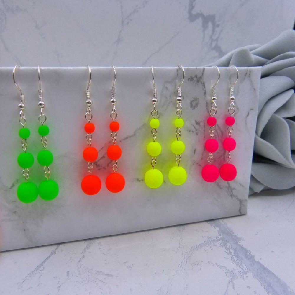 Triple Bead Drop Neon Earrings