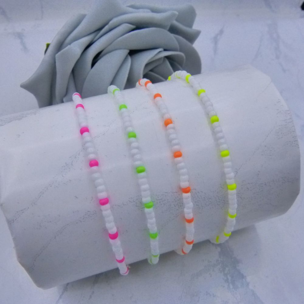 White & Neon Seed Bead Anklet