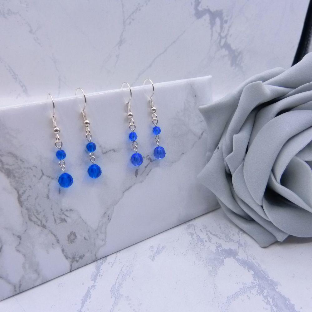 Round Crystal Drop Link Earrings - Blues