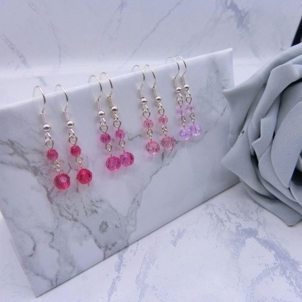 Round Crystal Drop Link Earrings - Pinks