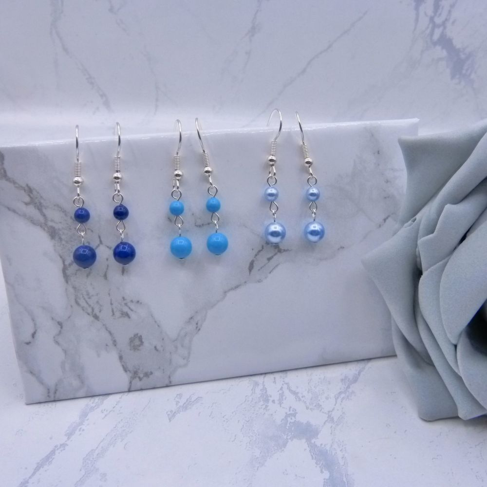 Pearl Drop Link Earrings - Blues