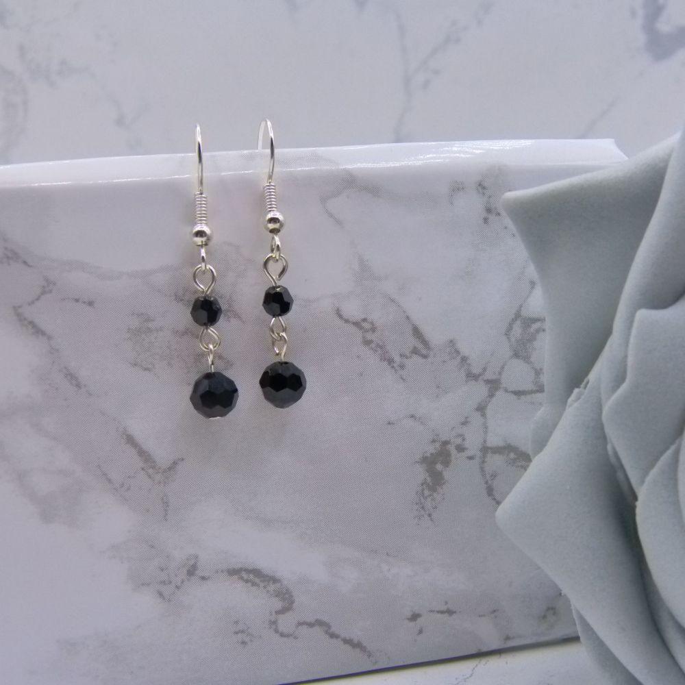 Jet Black Crystal Drop Link Earrings