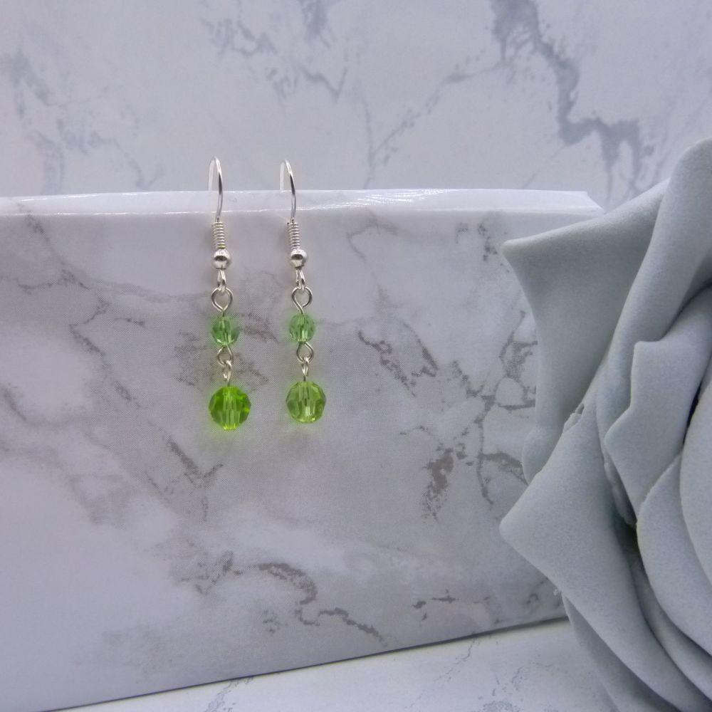 Peridot Green Crystal Drop Link Earrings