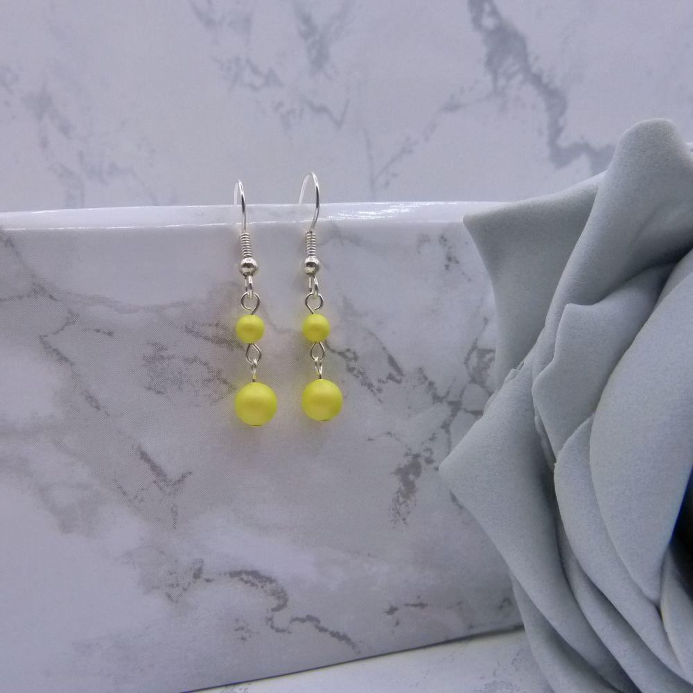 Pastel Yellow Pearl Link Drop Earrings