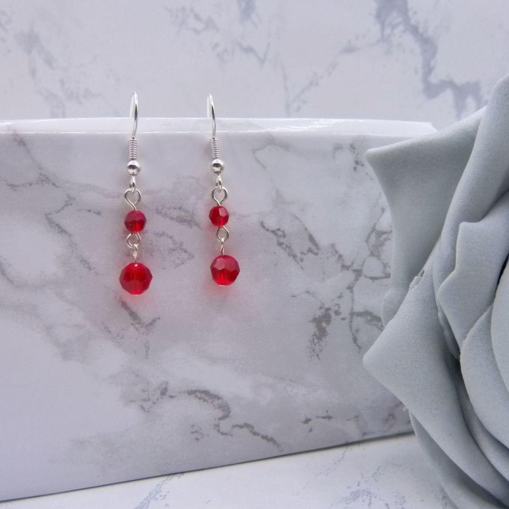 Light Siam Red Crystal Drop Link Earrings