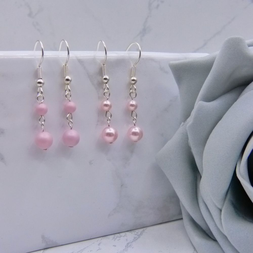 Pearl Drop Link Earrings - Pinks