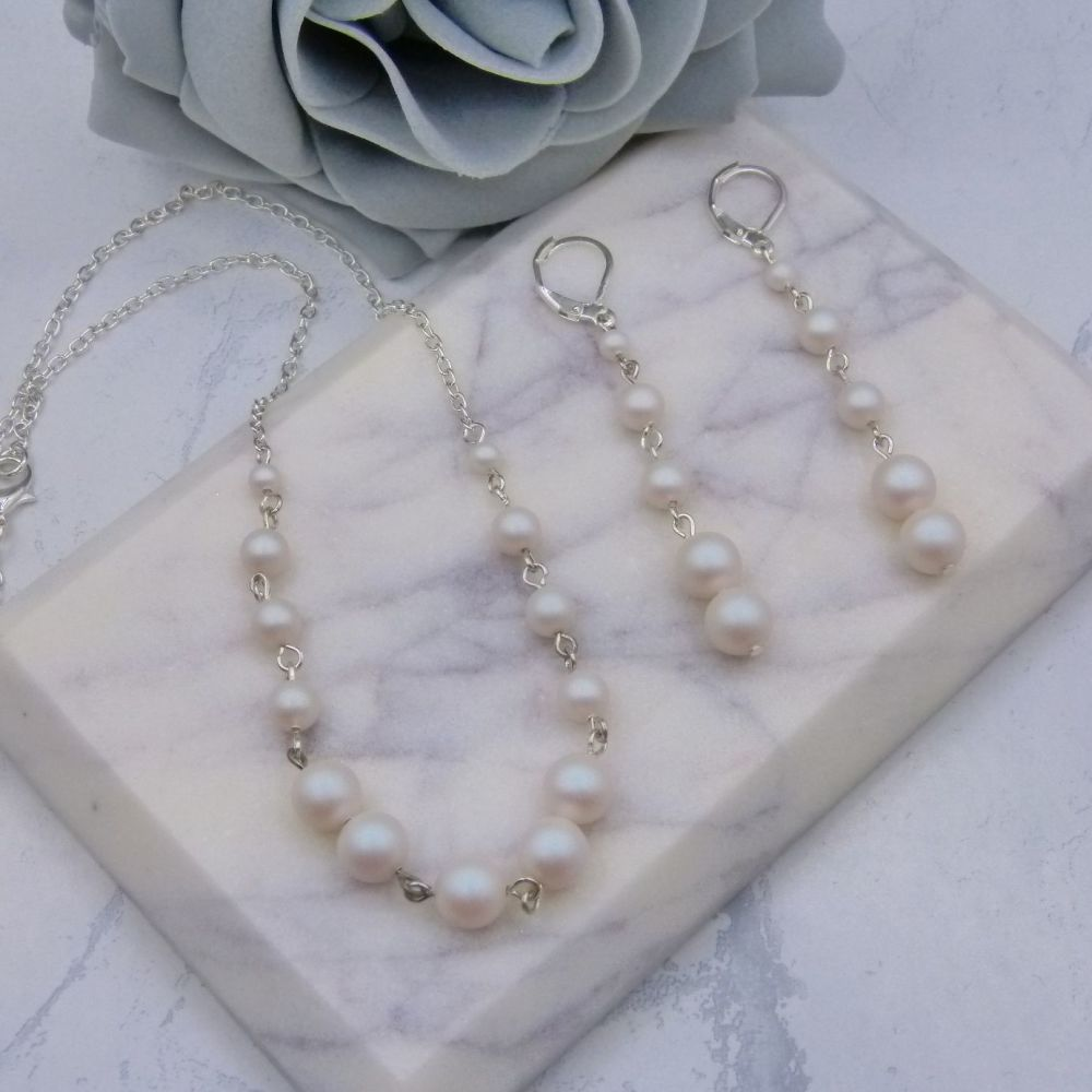 Bonita Pearl 2 Piece Bridal Jewellery Set