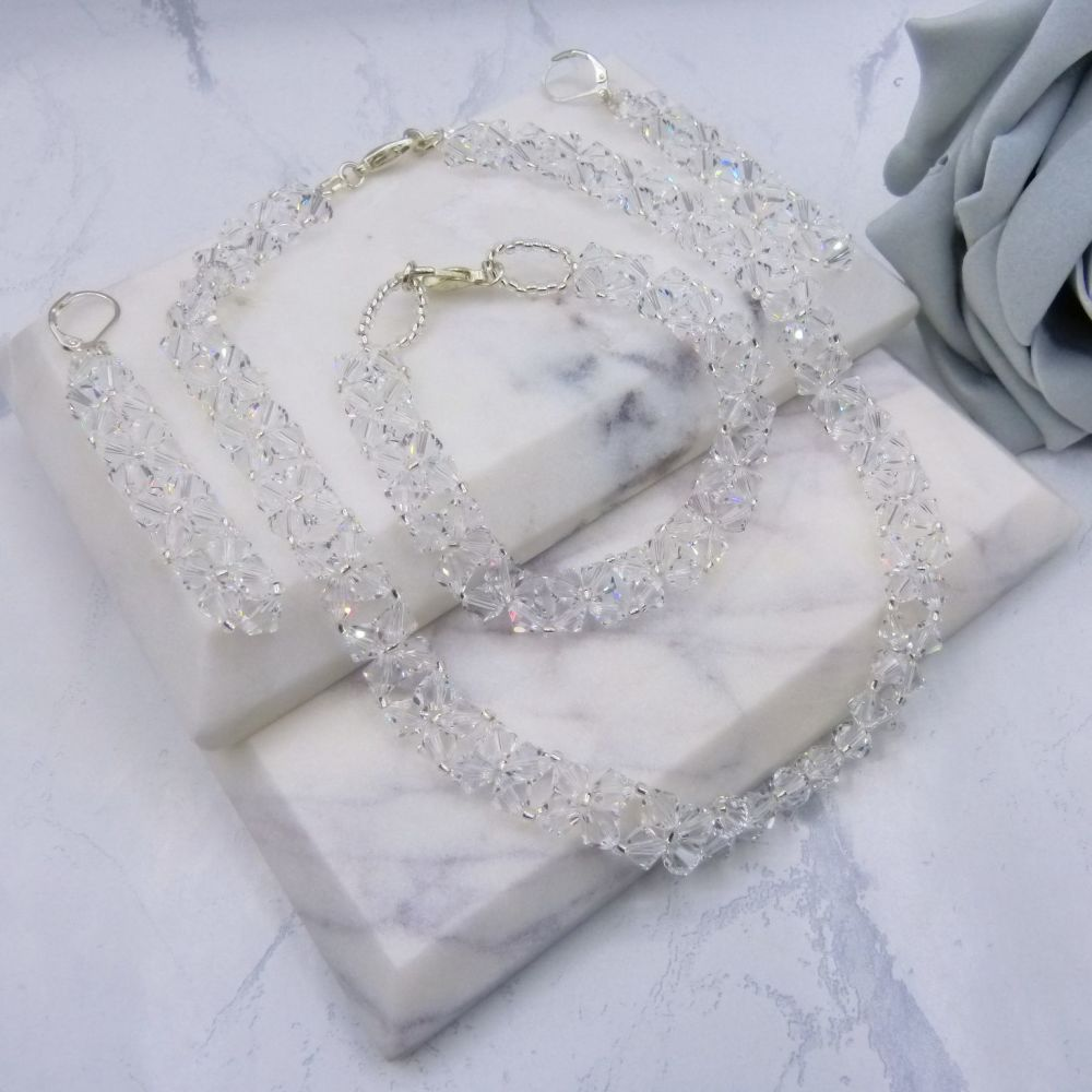 Monroe Crystal Weave Jewellery Set