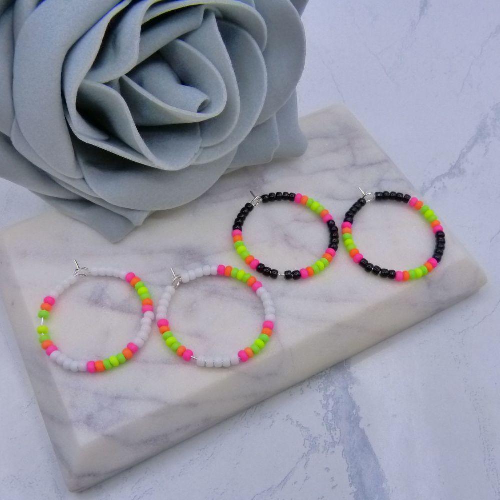 Neon Colour Block Hoop Earrings