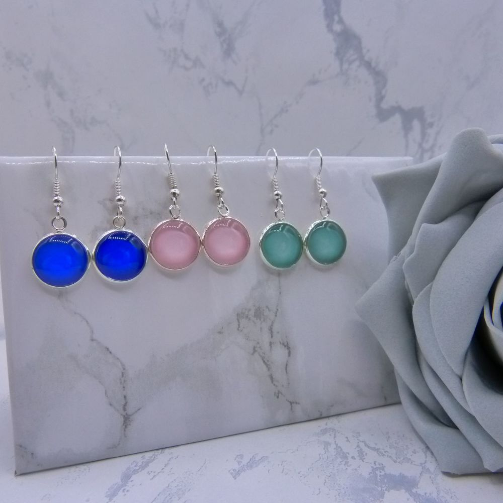 12mm Coloured Glass Drop Earrings - Choose Your Colour