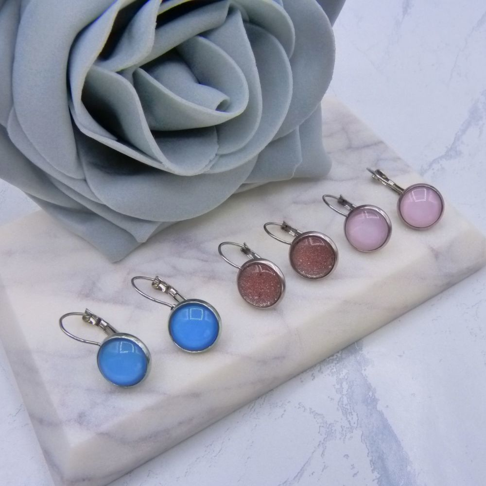 12mm Coloured Glass Lever Back Earrings - Choose Your Colour