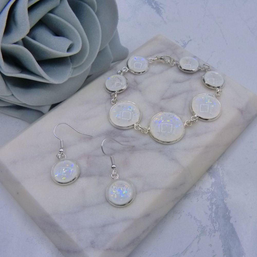 White Iridescent Glitter Bracelet & Earrings