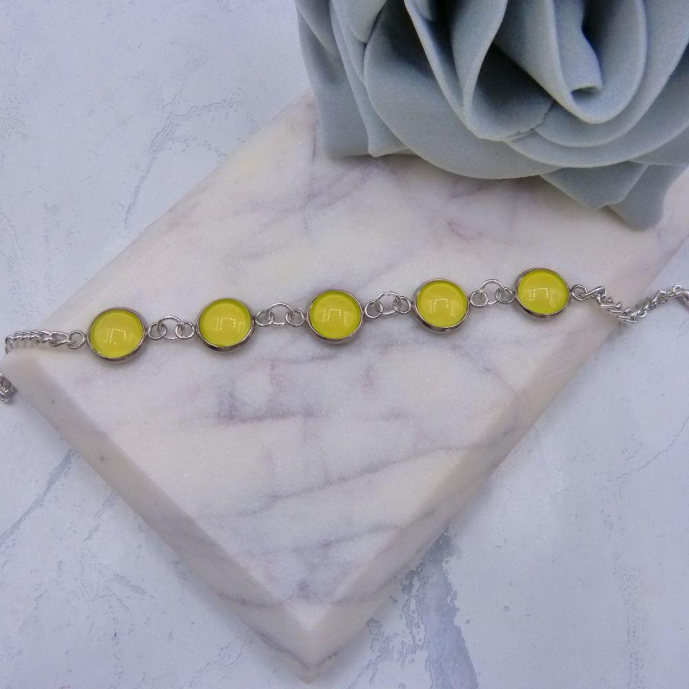 Yellow Glass Dome Bracelet