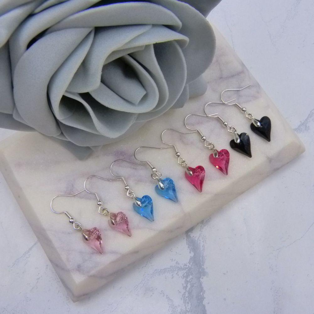 'Wild Heart' Crystal Heart Earrings