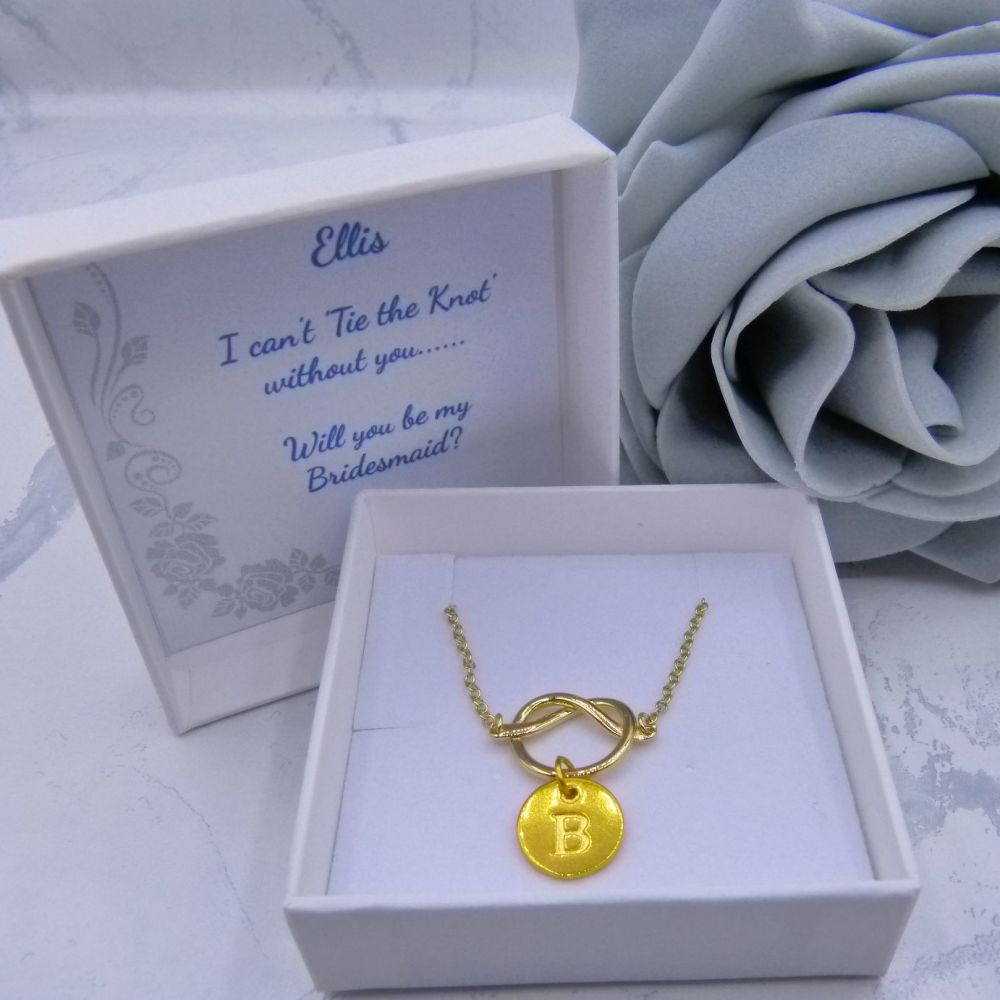 Initial Charm Knot Necklace