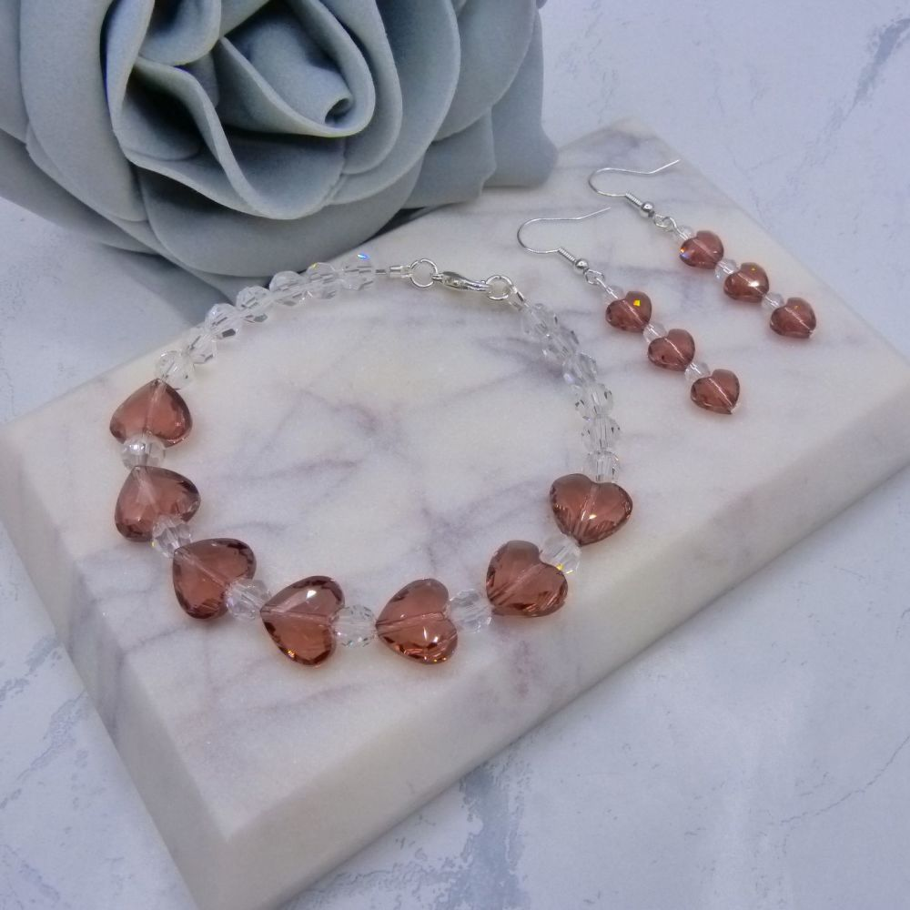 Blush Pink Crystal Heart Bracelet & Earrings Set