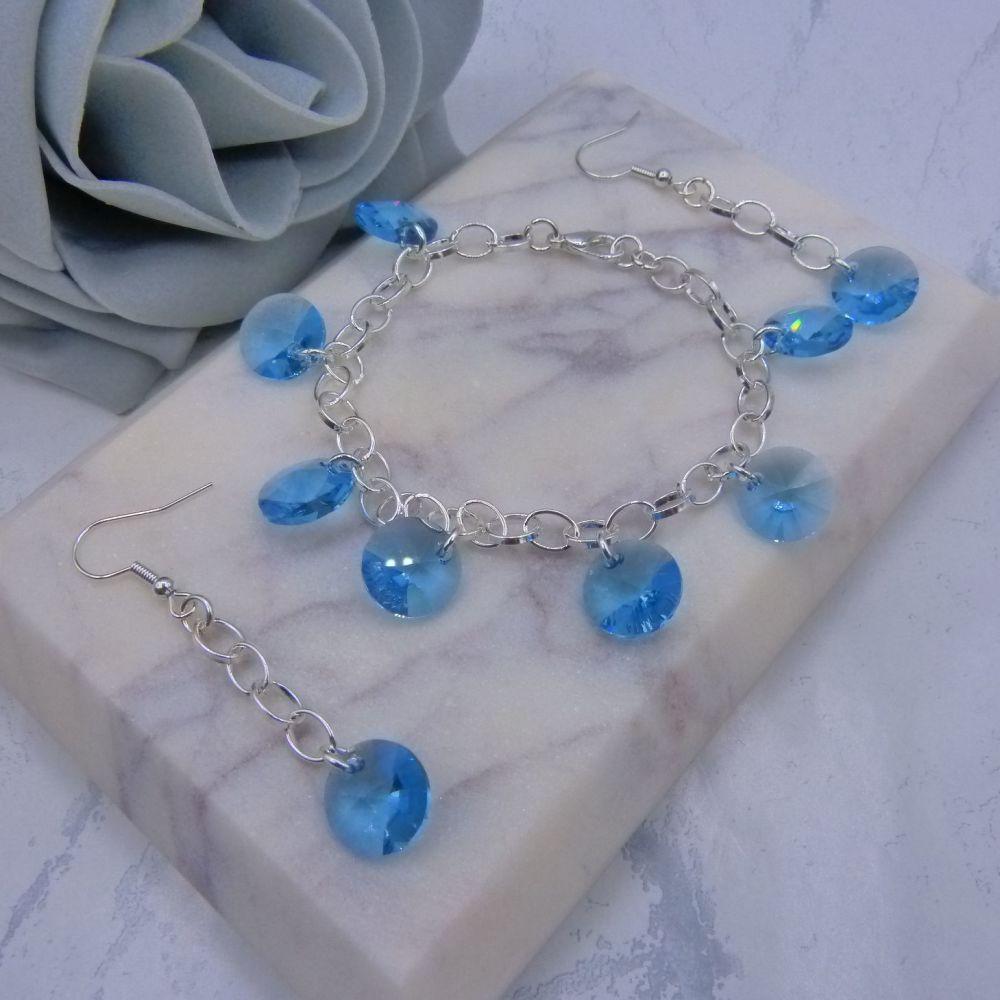Aquamarine Crystal Charm Bracelet & Earrings Set