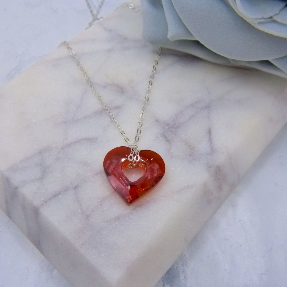 Red Crystal Hollow Heart Pendant