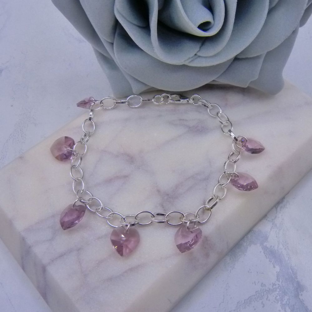 Light Amethyst Crystal Heart Charm Bracelet