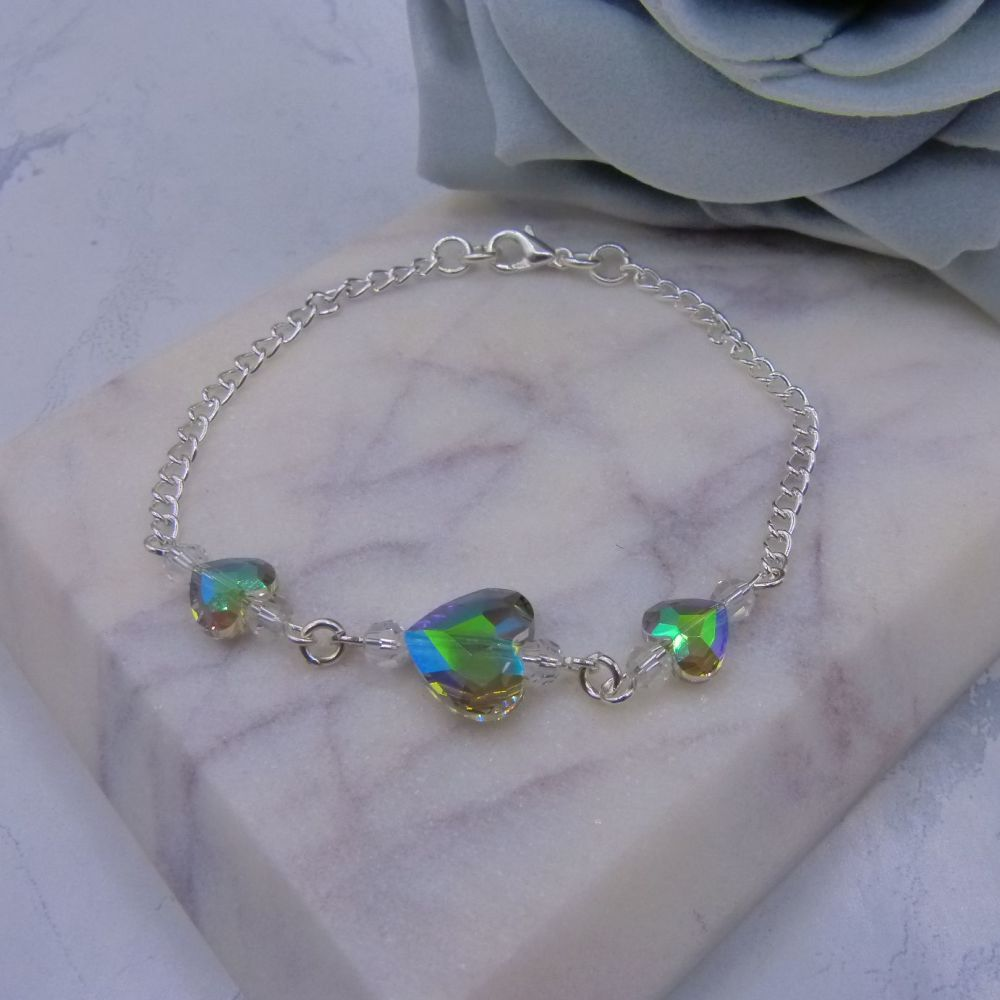 Rainbow Effect Crystal Heart Chain Bracelet