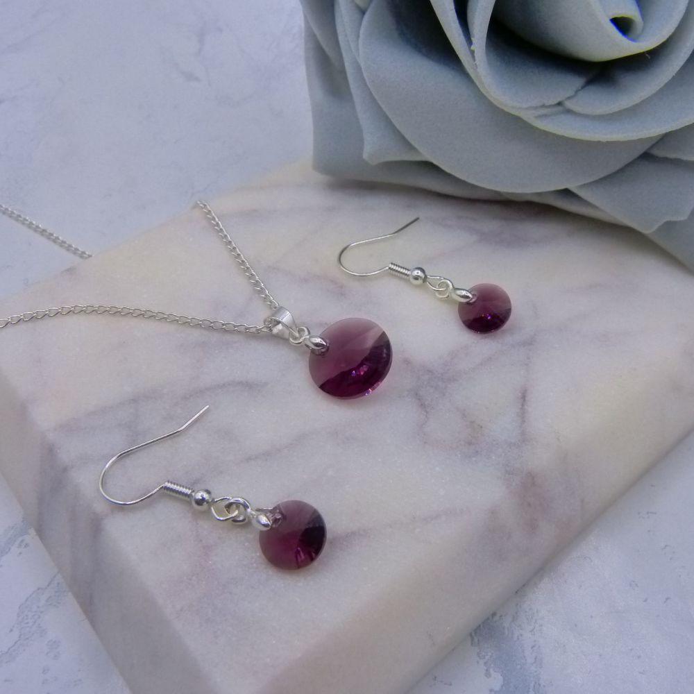 Dainty Amethyst 2 Piece Jewellery Set