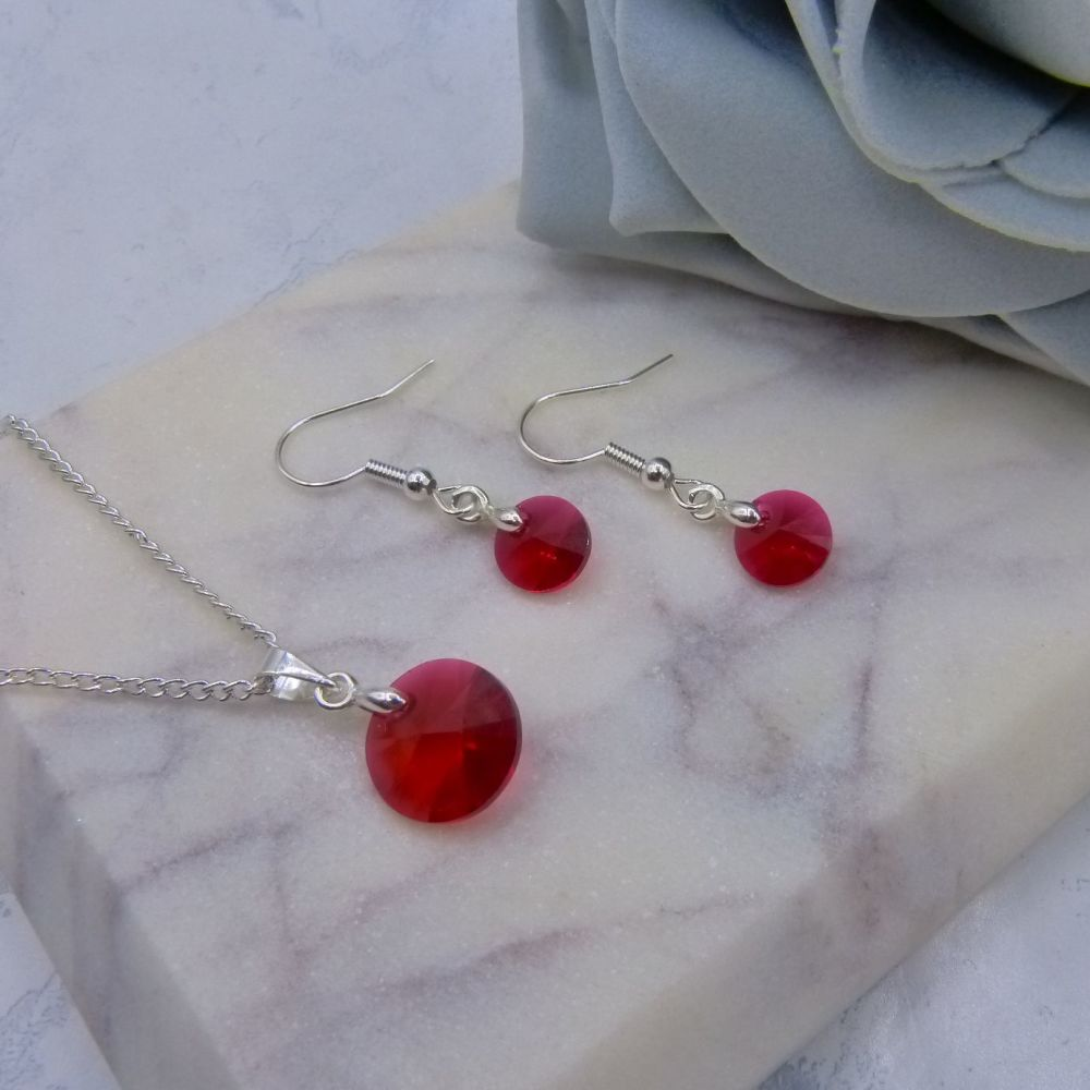 Delicate Scarlet Red Jewellery Set