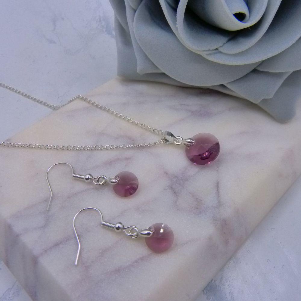 Iris Purple Crystal Jewellery Set
