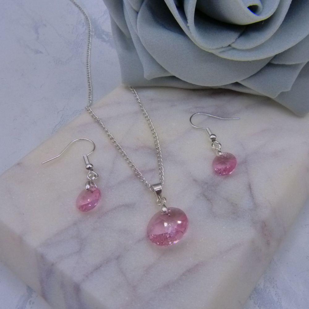 Light Rose Pink Crystal 2 Piece Jewellery Set